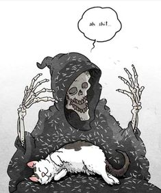 Tagged with cat, aww, caturday; Cat dump from stolen memes on Caturday Art And Illustration, Illustrations, Arte Obscura, Skeleton Art, Grim Reaper, Skull Art, Crazy Cats, Dark Art, Cute Art