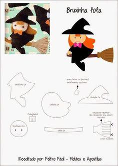Felt Easy: witches mold in felt Moldes Halloween, Halloween Sewing, Theme Halloween, Halloween Crafts, Halloween Snacks, Felt Templates, Applique Templates, Applique Patterns, Card Templates