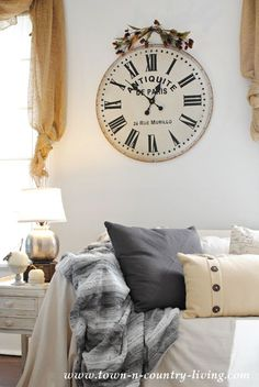 A recent trip to World Market resulted in a new French wall clock for my farmhouse family room. See how it changed my plans for my fall decor Farmhouse Family Rooms, Country Farmhouse Decor, French Country Decorating, Country Living, Living Room With Fireplace, Living Room Decor, Diy Furniture Easy, Furniture Design, Open Plan Kitchen Living Room