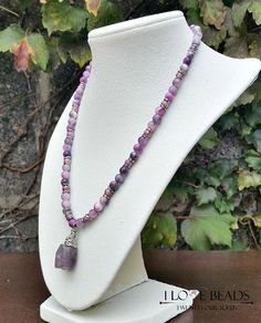 purple mother of pearl necklace-purple necklace-wire wrapped necklace-silver necklace-pendant necklace-amethyst necklace-gifts for her by ILoveBeads247 on Etsy