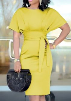 Patchwork Waist Belted Mid-Calf Slip Dress Colors: green, purple, blue, yellow and black Style:Fashion Pattern Type:Solid Material:Polyester Neckline:Crew neck Sleeve Style:Short Sleeve Yellow Fashion, White Fashion, Women's Dresses, Women's Fashion Dresses, Dresses For Work, Fashion Trends 2018, Fashion 2017, Fashion Online, Peplum Dress