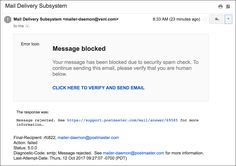 phishing 'message blocked confirm identity' email