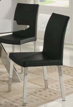 "Isotta Contemporary Dining Chair Black and Chrome (Set of 4) by Coaster Home Furnishings. Save 55 Off!. $240.95. Modern Style. Side Chairs. Upholstery: Faux Leather. These Luxuriously Comfortable Accent Chairs Will Add As Elegant Touch To Any Living Room Or Bedroom. Available In Four Patterns: Grey Stripes, Beige Stripes, Burgundy/Gold Stripes And A Dark Sunburst. Dimensions: 26""Lx26""Wx33""H"