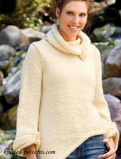 Asymmetric pullover free knitting pattern