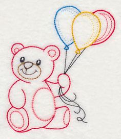 Teddy Bear with Balloon Bunch (Vintage)