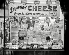 "New York circa ""Window display of imported and domestic cheeses."" Look at those prices! negative by John M. Shorpy Historic Picture Archive :: Come In for a Taste high-resolution photo Vintage Photographs, Vintage Photos, Vintage Ads, Store Window Displays, Retail Displays, Merchandising Displays, Vintage Windows, New York, Yesterday And Today"