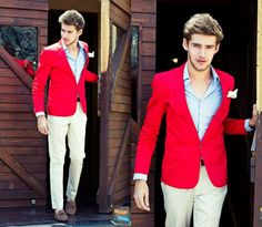 red single button sports coat via trashness