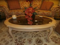 Classic oval coffee table on Queen Ann legs done in a light finish. Measures 48x33x17. Arrived: Wednesday October 5th, 2016