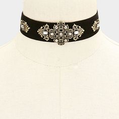 "12"" gold victorian gothic velvet collar necklace 1"" wide"