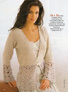 TRICO y CROCHET-madona-mía: Abrigo (jaleco) largo con gráfico-crochet
