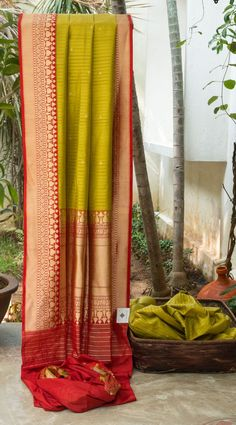 DAINTY MUSTARD GREEN WITH DELICATE GOLD ZARI BUTTAS ALL OVER HAS BEWITCHING RED WITH INTRICATELY WOVEN GOLD ZARI BORDER FLOWING INTO THE PALLU GIVING THE SAREE CLASSIC FINISH.