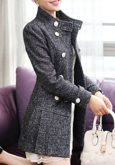Black Snow Wool #Jacket Formal Outwear Dress Mini Skirt Ol Women Coat Winter Jacket Autumn by KoreanFashionBuy - Found on HeartThis.com @HeartThis
