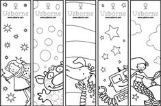Free coloring bookmarks for kids from Usborne Free Printable Bookmarks, Bookmark Template, Bookmarks Kids, Bookmarks To Color, Free Printables, Colouring Pages, Adult Coloring Pages, Coloring Sheets, Coloring Books