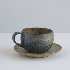 focus-damnit:  Japanese Stoneware Cup and Saucer / Midnight and Natural Specks | clothandgoods.com