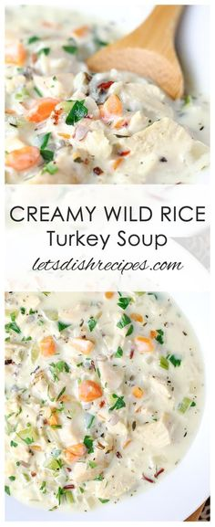 Creamy Wild Rice Turkey Soup Recipe: Creamy turkey soup with wild rice and vegetables. A great way to use Thanksgiving leftovers! Creamy turkey soup with wild rice and vegetables. A great way to use Thanksgiving leftovers! Creamy Turkey Soup, Turkey Wild Rice Soup, Leftover Turkey Soup, Turkey Stew, Turkey Broth, Best Turkey Soup, Wild Turkey Recipes, Wild Rice Recipes, Turkey Meals