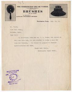 1912 TORRINGTON BRUSH WORKS Letter CONNECTICUT CT Brushes Holyoke Mass MA