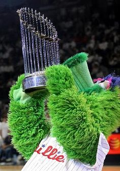 a statue of the #1 Mascot in the World(The Phillie Phanatic) holding the most recent Philadelphia championship, there is nothing more welcoming than that!