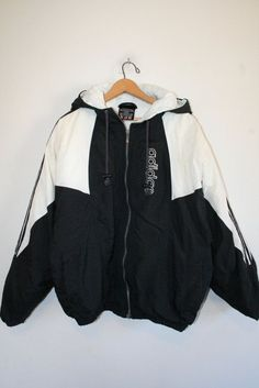 ADIDAS COAT // size medium // 90s // puffy jacket // black & white // hood…