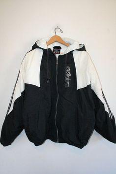 ADIDAS COAT // size medium // 90s // puffy jacket // black & white // hood…