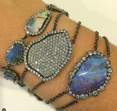 Silver Bracelets, Beaded Bracelets, Types Of Opals, Moonstone Jewelry, Labradorite, Gems, Bling, Style Inspiration, Pearls