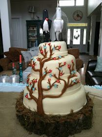 Tree & Bird Wedding Cake