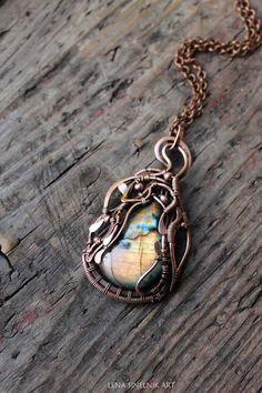 Copper pendant, Wire wrap pendant , wire wrap jewelry,  labradorite pendant