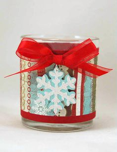Holiday Candle embellished with the #Cricut machine