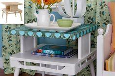 """Mesa lateral Retro - transforme a sua velha em uma peça """"retro"""", dando um Toque especial #DIY http://toques-e-retoques.blogspot.pt/2013/09/mesa-lateral-retro.html"""