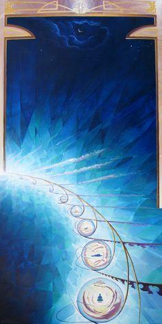 "Evolution IV: I Am All of Those Lifetimes - 2008 Acrylic/Canvas 32"" x 16"" Michael Divine"