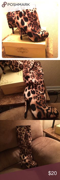 """High heel boots. Like New Leopard print. 1-1/2"""" covered platform. charles albert Shoes Heeled Boots"""