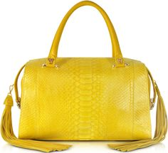 •Website: http://www.cuteandstylishbags.com/portfolio/ghibli-yellow-python-leather-satchel-fringe-tassel/ •Bag: Ghibli Yellow Python and Leather Satchel with Fringe Tassel