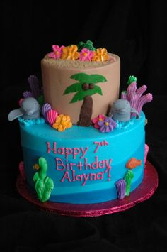 I like the idea of an island in the middle of the ocean   Beach Cake