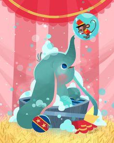 Dumbo's Bathtime By Joey Chou Disney Pixar, Disney Magic, Animation Disney, Disney Dream, Disney Love, Disney Artwork, Disney Fan Art, Disney Drawings, Joey Chou