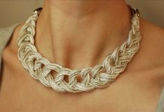 Linen Crocheted Necklace. LETICIA. Natural grey and di magdalinen, $22.00