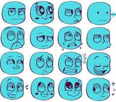 pombity: I made a ref sheet for myself wowie - Art References Facial Expressions Drawing, Anime Faces Expressions, Arte Do Kawaii, Beginner Art, Sketches Tutorial, Art Base, Cartoon Art Styles, Drawing Poses, Drawing Reference