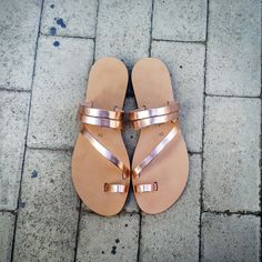 Metallic mirror handmade leather sandals in by TheSandalStories