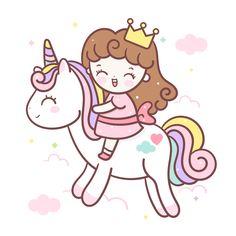 Unicorn Drawing, Unicorn Art, Princess Cartoon, Cute Princess, Unicorn Princess, Princess Room, Cute Cartoon Drawings, Cute Kawaii Drawings, Doodles Kawaii
