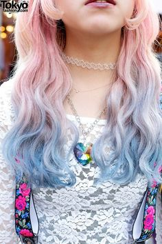 Pastel colored hair, light and blue