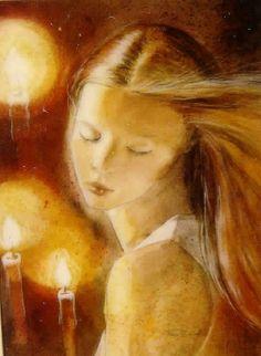 Les trois bougies - Peinture,  30x40 cm ©2007 par Fran Zainal -            femme fantaisie aquarelle portrait