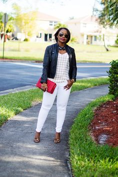 black leather jacket and white distressed jeans outfit with leopard heels and Rebecca Minkoff Red Love crossbody 1