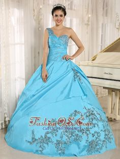 Buy baby blue one shoulder dress for quinceanera with appliques from simple quinceanera dresses collection, one shoulder ball gowns in baby blue color,cheap taffeta dress with lace up back and for prom sweet 16 quinceanera . Turquoise Quinceanera Dresses, Cheap Quinceanera Dresses, Prom Dresses, Dresses 2014, Beaded Dresses, Dama Dresses, Cinderella Dresses, Quinceanera Party, Flower Dresses