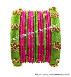 Yaalz Kundan Stone Bangle Set In Lime Green & Rani Pink Colors Silk Thread Bangles Design, Thread Jewellery, Bangle Set, Bangle Bracelets, Pink And Gold, Pink And Green, Colorful Bracelets, Green Silk, Necklace Designs