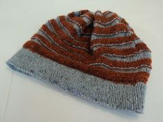 Handcrafted Ridged Slouchy Hat Rust Gray Merino Wool Alpaca Vicose Mix  Female -- New No 843a37b8c9f7