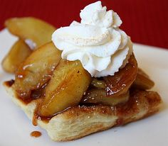 "Caramelized Apple Waffle Pastries- the ""waffle"" is made from Puff Pastry, then topped with delicious cinnamon- caramelized apples and whipped cream.  Delicious #fall #dessert #recipe."