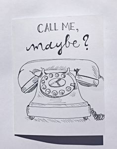 Greeting card - Call Me Maybe - blank card, funny card, friendship, best friend, dating card, telephone, rotary phone, first date by CLAIREandJAMESdesign on Etsy