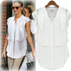 New Fashion Women Blouse Chiffon Stand Collar Short Butterfly Sleeve Solid  Color Elegant Tops White Dark Blue f9ef3c5d8c12