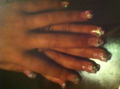 Pink glitter clear nails for little girls