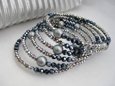 Memory wire bracelet silver and black wrap by Beadingbytheshore