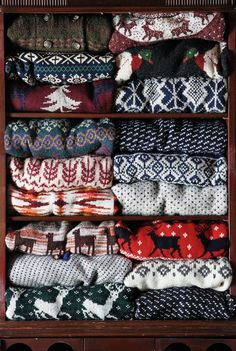 Norwegian sweaters~reminds me of lazy afternoons after skiing, drinking hot chocolate and playing Monopoly.....