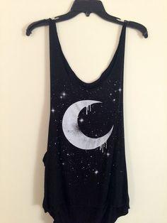 Black dripping moon tank top.